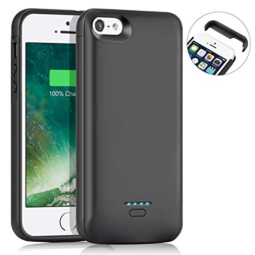 AEDLYK Battery Case for iPhone 5 5S SE 4000mAh Slim Charger Case Rechargeable Portable Case Extended Battery Charging Case Protective Backup Power Case (Black )