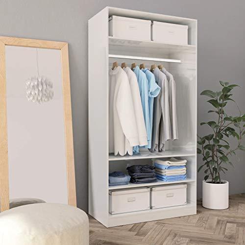 Cikonielf Offener Kleiderschrank zum Aufhängen und Aufbewahren von Kleidung, Organizer mit 3 Ablagen für Schlafzimmer, Weiß mit Hochglanz, 100 x 50 x 200 cm
