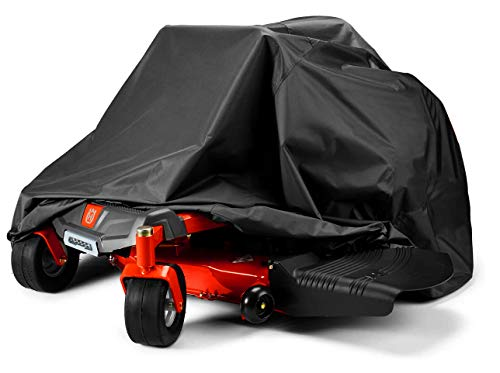 """Zero-Turn Mower Cover, Universal Fit Heavy Duty 600D Polyester Oxford, Weatherpoof UV Protection with Windproof Buckle, Drawstring & Cover Storage Bag, Tractor Cover Up to 60"""" Lawn Mower Decks"""
