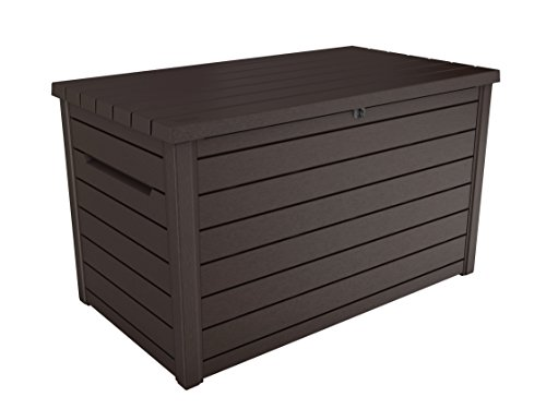 Keter Ontario Boîte de rangement avec ouverture à pistons, en plastique étanche, aspect bois, pour jardin, 870 litres