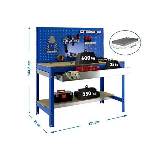 simonrack bt-2Box 1200-Set Werkbank blau/Holz - 5