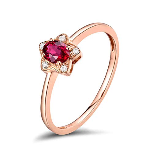 AnazoZ Anillo Rubi Mujer,Anillos de Oro Rosa Mujer 18 Kilates Oro Rosa y Rojo Flor con Oval Rubí Rojo 0.29ct Diamante 0.025ct Talla 12