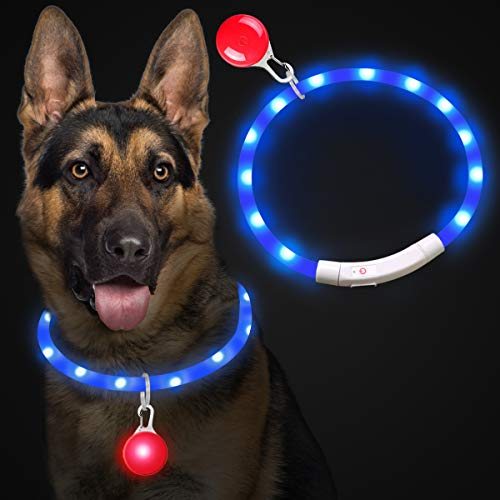Theirsova Leuchthalsband Hund Aufladbar, LED Hundehalsband Leuchtend USB wiederaufladbar Längenverstellbarer, Haustier Sicherheit Kragen für Hunde und Katzen Halsband- 3 Modus