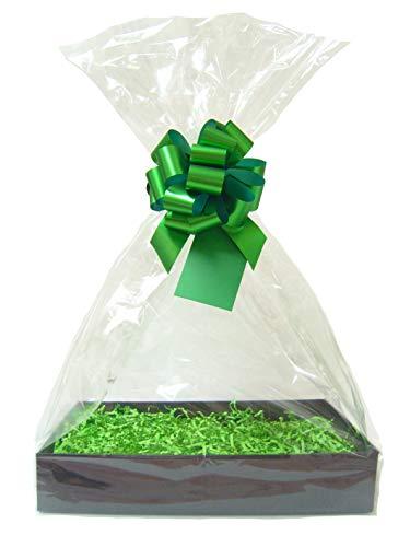 GROENE DIY cadeau mand belemmert Kit - zwarte opvouwbare kartonnen lade, groene versnippering, groene boog, cello tas & groene gift tag (groot - 35 cm x 24 cm x 8 cm hoog)