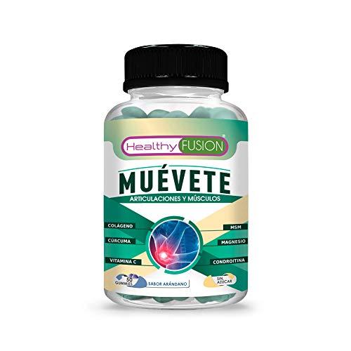 Muévete | Potente antiinflamatorio con acción analgésica | Regenerador articular | Potente cúrcuma + colágeno + magnesio + condroitina + MSM + vitamina C | 50 gummies
