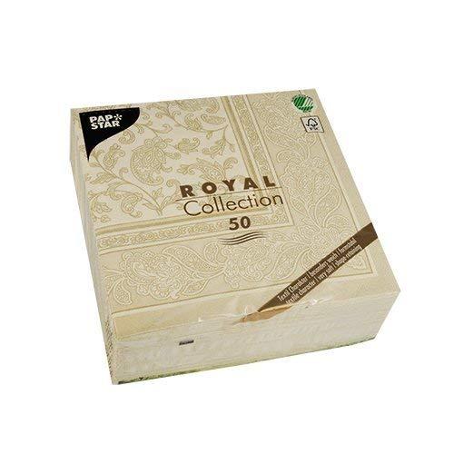 PAPSTAR 11681 50 Serviettes-Collection Royal-1/4 pli-40x40cm-Ornements Champagne, Papier, 20 x 8 x 20 cm