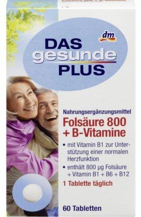 DAS gesunde PLUS Folsäure 800 + B-Vitamine Tabletten, 60 St Nahrungsergänzungsmittel