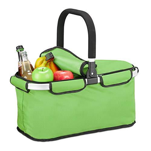 Relaxdays Einkaufskorb faltbar, mit Deckel, Tragekorb mit Henkel, 25 L, Polyester, Faltkorb mit Reißverschluss, hellgrün
