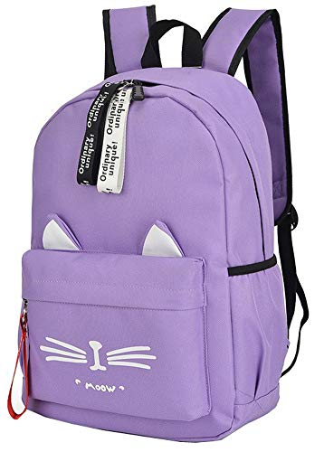 College Student Cute Cat Ear Canvas School Laptop Backpack Bags for Girls (Purple)