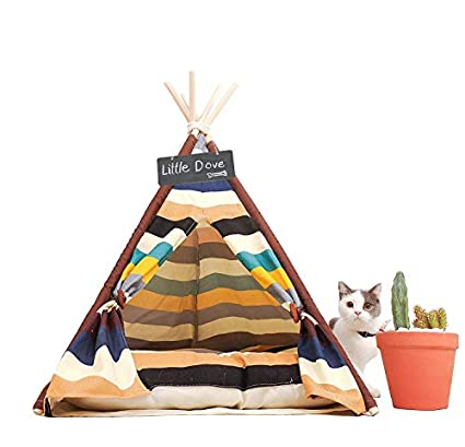 little dove Pet Teepee Dog(Puppy) & Cat Bed - Portable Pet Tents & Houses for Dog(Puppy) & Cat Colorful Style 24 Inch (with or Without Optional Cushion) USA