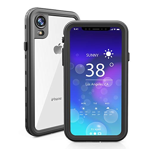 RedPepper Waterproof Case for iPhone XR 6.1 Inch, Full-Body Protective iPhone XR Case Shockproof Dirtproof Snowproof IP68, Built-in Screen Protector Waterproof Case (Black/Clear)