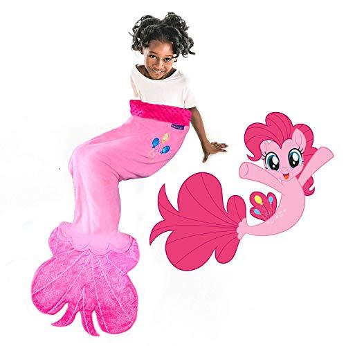 Blankie Tails | My Little Pony Mermaid Blanket Wearable Blanket - Double Sided My Little Pony Minky Fleece Blanket - Mermaid Tail Blanket (56'' H x 27'' (Kids Ages 5-12), Pinkie Pie Seapony)