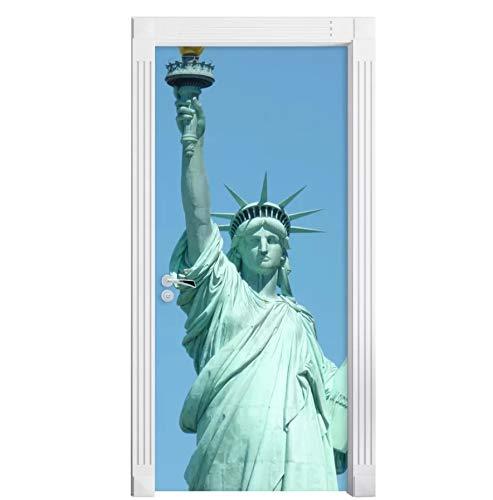 kasup Selbstklebende 3D-Statue Liberty Wallpapers Renovierung DIY PVC-Aufkleber Tür Wasserdicht Home Decoration Decal Print Art Picture