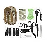 VGEBY Kit de Supervivencia 15 en 1, Herramientas de Supervivencia EDC de Emergencia Equipo de Emergencia para Exteriores y Equipo de Herramientas para Acampar, Senderismo, Aventuras