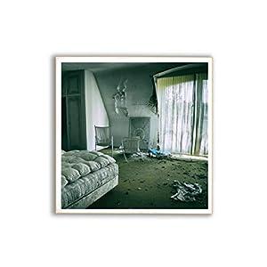 altes Schlafzimmer, marode, Foto auf Holz, im Quadrat, 13 x 13 cm, Lost Place, marode