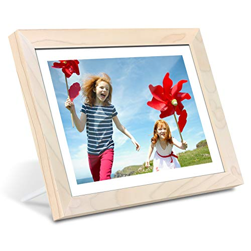 AEEZO WiFi Digital Picture Frame 10.1 Inch IPS Touch Screen HD Display, 16GB Storage, Auto-Rotate, Share Photos & Videos via Free Frameo App, Wall Mountable Digital Photo Frame with White Wood Frame Digital Frames Picture