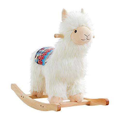 RM Design Schaukelpferd als Lama BZW. Alpaka für Kinder und Babys ab 1 Jahr aus Holz 53 cm