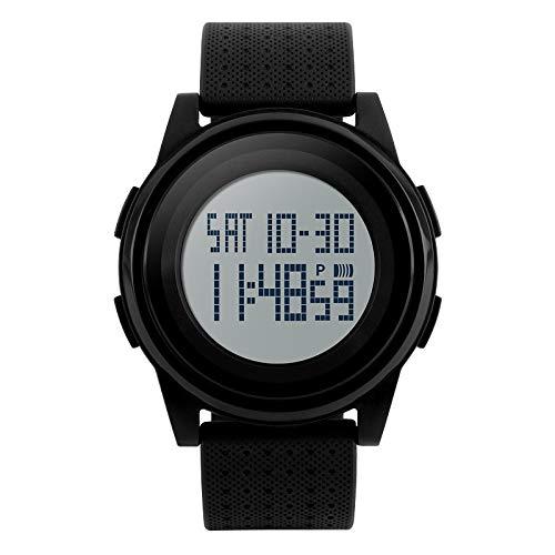 JUZHANG Unsex Digital Military Sportuhr wasserdichte LED-Hintergrundbeleuchtung Countdown-Chronograph Einfache ultradünne Uhr Modische Uhr (Color : Black 2)