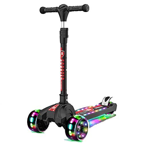 PTHZ Scooters for Kids 3 Wheel Kick Scooter - Manillar Ajustable Lean-to-Steer, Rueda Flashing PU, Cubierta Extra Ancha para niños y niñas de 3 a 12 años,Negro