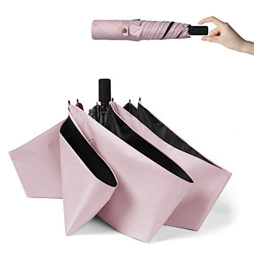 超軽量(172g) 折りたたみ 日傘 UVカット 完全遮光 遮熱 晴雨兼用 折り畳み日傘 レディース メンズ 300T高強度グラスファイバー 耐風撥水 収納ポーチ付き ピンク