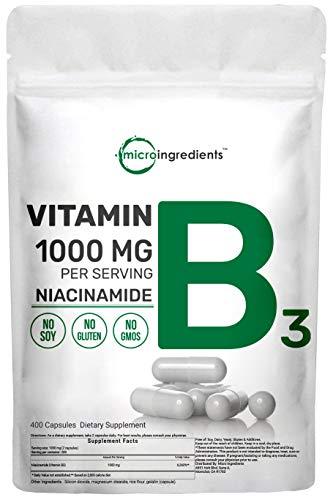 Niacinamide Vitamin B3 1000mg Per Serving, 400 Capsules, Premium Vitamin B3 Supplement, Strongly Support Skin's Natural Defense Mechanisms, Non-GMO