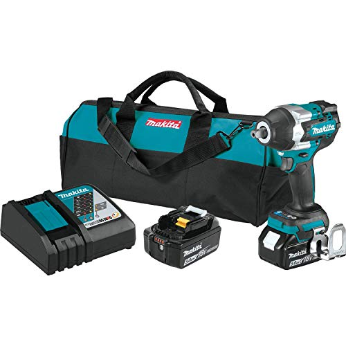 Makita XWT18T 18V LXT Lithium-Ion Brushless Cordless 4-Speed Mid-Torque 1/2' Sq. Drive Impact Wrench Kit w/ Detent Anvil (5.0Ah)
