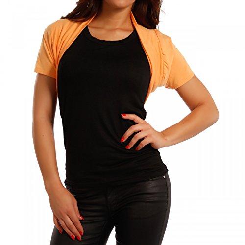 Young-Fashion Damen Bolero Basic Shirtbolero Shirtjacke mit Stretch One Size, Farbe:Orange/Gelb;Größe:One Size