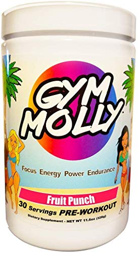 Gym Molly Pre Workout Powder Energy Drink Supplement | BCAAs | 0 Carbs | for Men & Women, Fruit Punch (30 Servings, 11.4 oz)