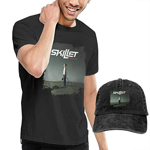 AYYUCY Herren Kurzarmshirt Dingtai Skillet Comatose Men's Short Sleeve T Shirt and Adult Washed Cowboy Hat