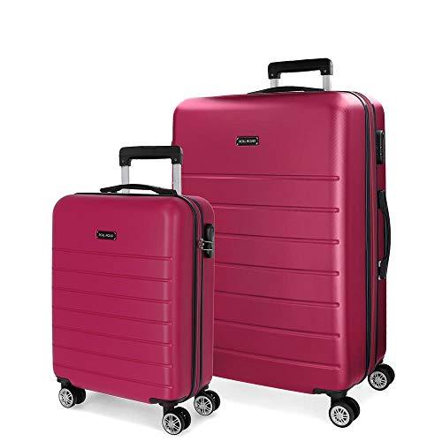 Roll Road Magazine Juego de maletas Rosa 55/66 cms Rígida ABS Cierre combinación 99L 4 Ruedas Dobles Equipaje de Mano