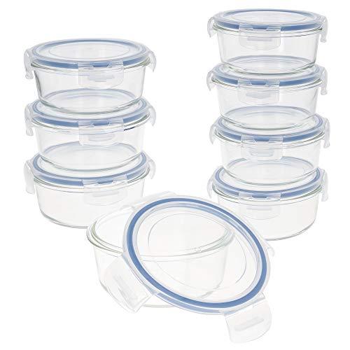 AKTIVE 45 Set 8 contenedores Alimentos herméticos, Vidrio, 15.5 x 7 cm, 580 ml