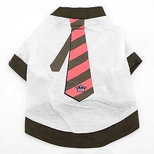 Smalllee _ Lucky _ Ranger Petit Chien Vêtements pour garçons Cravate Impression Tee shirt Marron Blanc