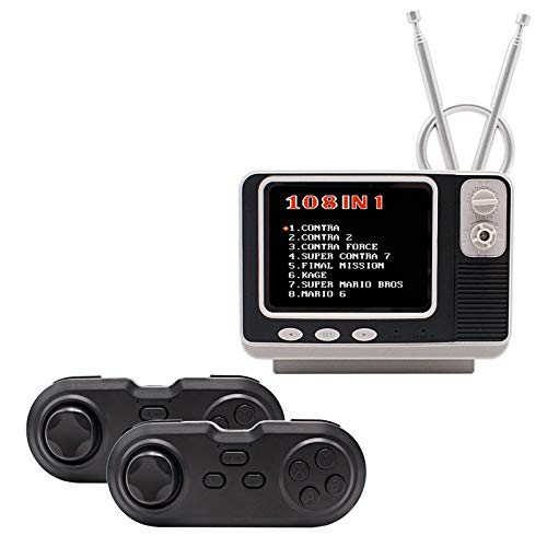 """E-MODS GAMING Mini TV Video Games Console Built-in 108 Classic Games, 3.0"""" TFT Retro Games Player Supporting 2.4GH Wireless Two Players & TV Connection Entertainment & Clock for Kids Adult"""