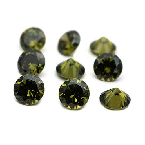 Neerupam Collection Dark Green Colour Cubic Zirconia AAA Loose Gemstones Round 1mm - 10mm, Cubic Zirconia CZ Stone for Ring/Necklace/Earrings, Jewelry DIY, Jewelry Making(3.5mm/250pcs)