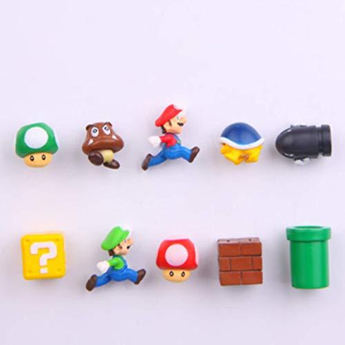 10 Unids / Set Super Mario Imán De Nevera 3D Tridimensional Mario Imán Decorativo Creativo Lindo Pegatina De Mensaje De Piedra De Hierro