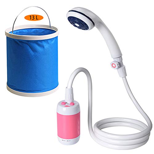 LUKUCEA Battery Powered - Compact Handheld Rechargeable Camping Showerhead USB Rechargeable 4400mAh Shower Pump with Expandable 3 gallons Bucket,Pink