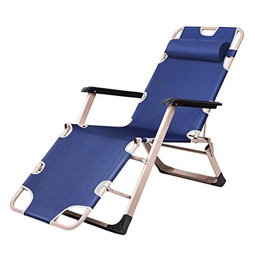 WGFGXQ Jardín/Patio al Aire Libre reclinable con Relajante multiposición para Personas Pesadas, Silla Tumbona de Gravedad Cero, Soporte 200 kg (Color: Azul)
