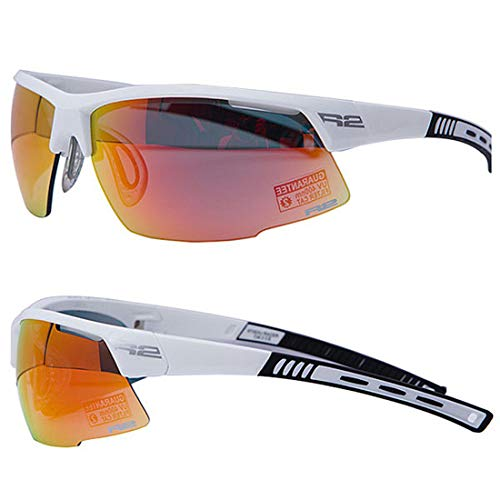 R&R Multi-Sportbrille Racer | Sonnenbrille | Radbrille | Laufbrille mit Wechselgläser oder selbsttönend (weiß glänzend, Wechselglas)
