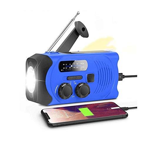 Sdesign Radio de manivela de la Mano de Emergencia, Radio Solar 2000mAh Banco de energía Radios con Cargador de teléfono y lámpara de Lectura LED, Am/FM, 3 métodos de Potencia (Color : Blue)