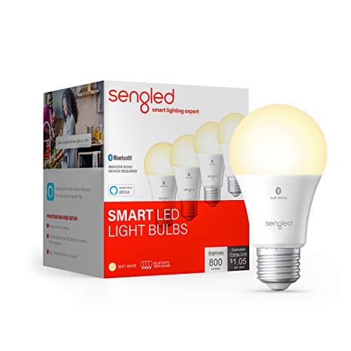 Sengled BLE Smart Bulb 4 Pack, Works with only Alexa, Bluetooth Mesh Smart Light Bulb, Dimmable LED Light, 800LM, Soft White 2700K, 60W Equivalent, Certified for Humans Device