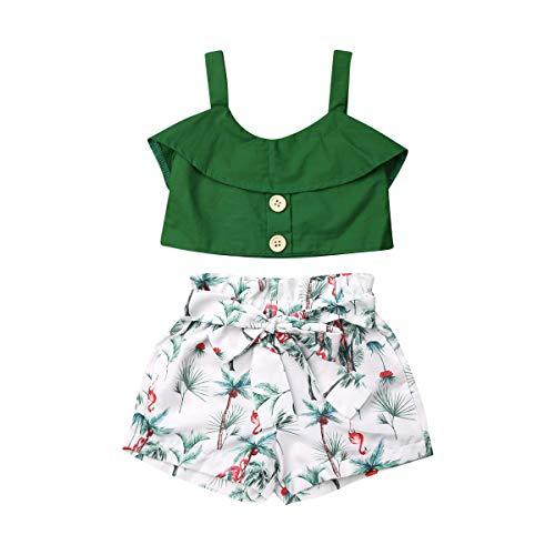 Geagodelia - Conjunto de camiseta de tirantes para niño y niña (pantalón corto y alto, con flores y letras) Verde 2 5-6 años