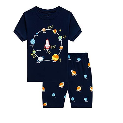 Pijama corto para niños de 1 a 10 años, diseño de dinosaurios, algodón Planetas Azul 6-7 Años