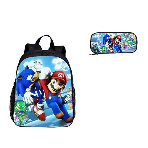 Mochila escolar Sonic cartoon 2pcs / set Kindergarten School Bag Set Super Mario Vs Sonic The Hedgehog Print School Mochila para niños niñas