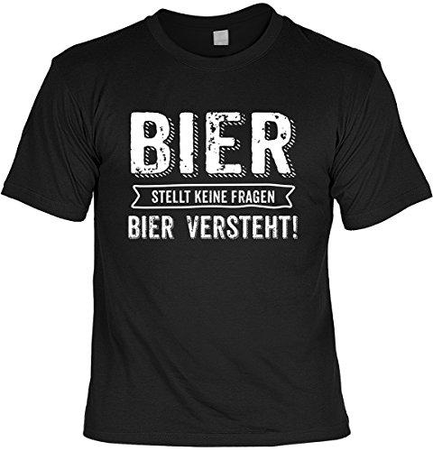 Bier Tshirt Partysprüche Biershirt Biersprüche : Bier stellt Keine Fragen Bier versteht! - T-Shirt Bier Sprüche Motive Gr: S