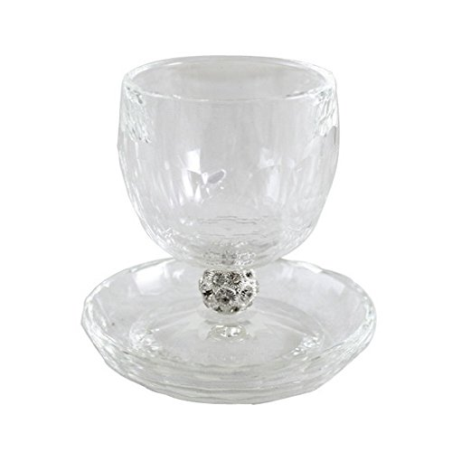 "4"" Tall Crystal Kiddush Cup Wine Goblet with Saucer for Shabbat and Holidays - Faux Diamond Stem"