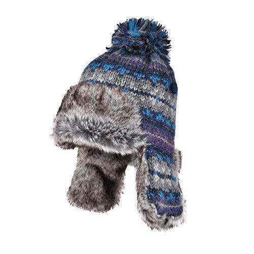 ChengLaoBan shoP Chapeau, chapeau de boule de poils automne femme et un chapeau de laine d'hiver oreille protecteur joli double casquette tricot épais cache-oreilles de mode chaud, la taille libre cha