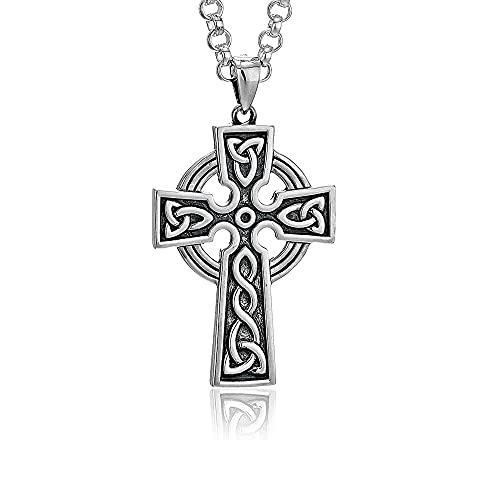 Mens Cross Necklace Silver 2 Sided 24' Chain Made in Ireland
