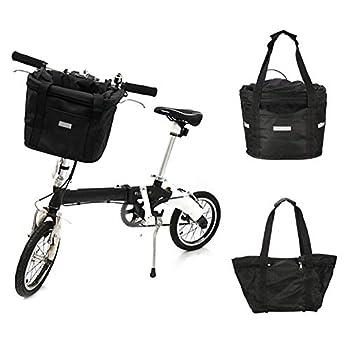 ZMXZMQ Panier De Vélo Noir, Panier Avant De Vélo Amovible, Pliable, Installation Facile, pour Transporteur d'animaux De Compagnie, Épicerie, Banlieue, Transport en Plein Air