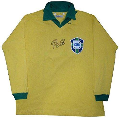 Pele Signed Vintage Brazil World Cup Long Sleeve Jersey #10 Auto COA RARE - Autographed Soccer Jerseys