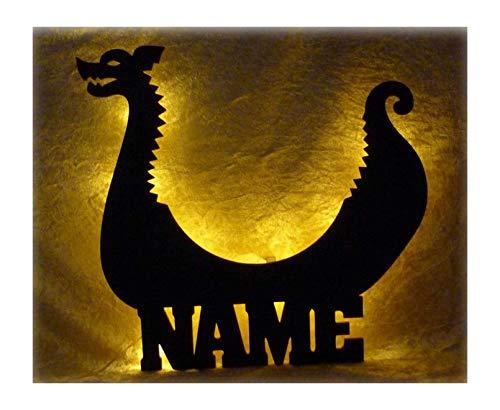 Schlummerlicht24 3d Led Lampe Wikinger Schiff Deko aus Holz mit Name personalisiert Wand-Tattoo Geschenke für Erwachsene Freund Wikinger Schiff Männer im KinderZimmer Schlafzimmer